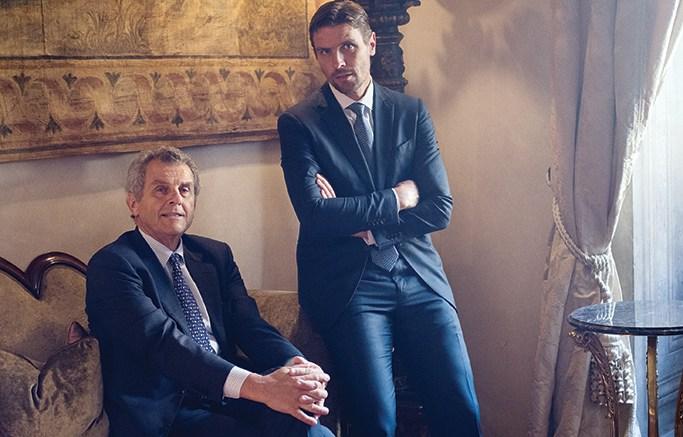 James and Ferruccio Ferragamo at the Palazzo Spini Feroni in Florence, Italy