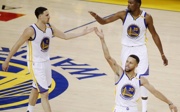 Klay Thompson Kevin Durant Stephen Curry Golden State Warriors