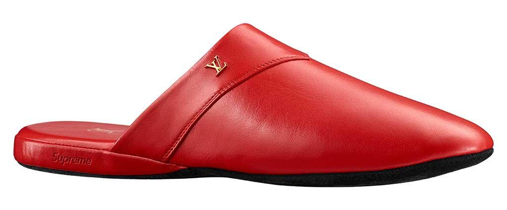 Louis Vuitton x Supreme slipper.