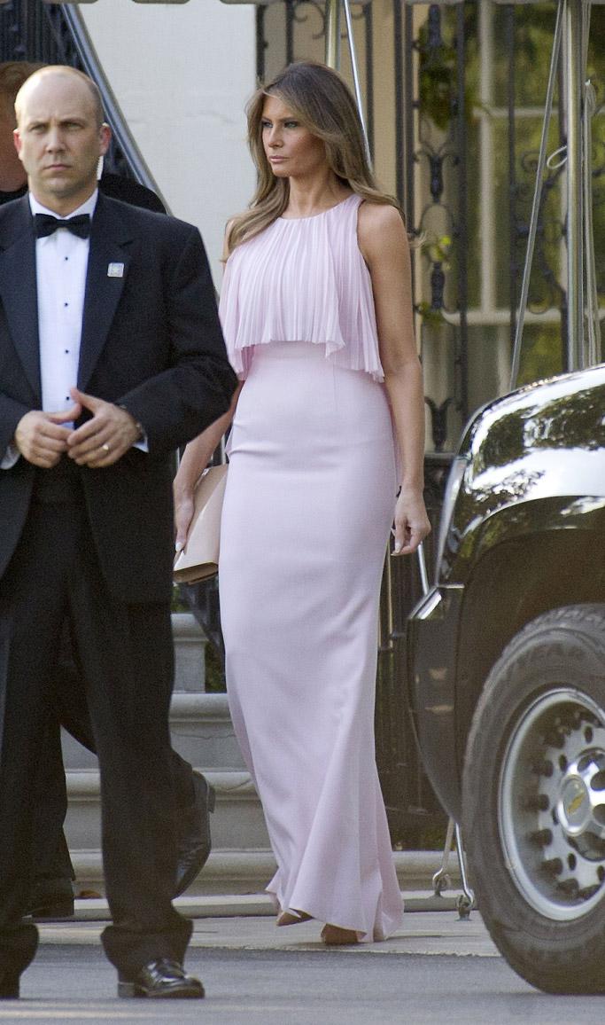 melania trump, dress, wedding, louise linton, steve mnuchin, wedding, secretary of treasury, style, fashion