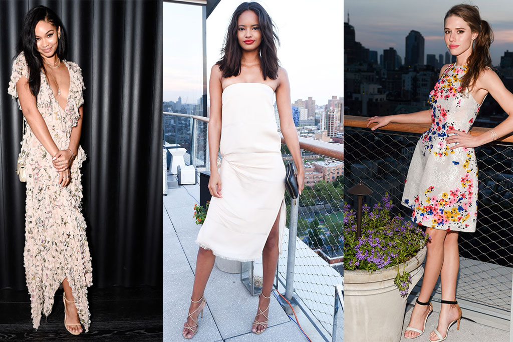 Chanel Iman, Malika Firth and Alessandra Balazs at W Magazine who's who party new york city wearing nude sandals and heels