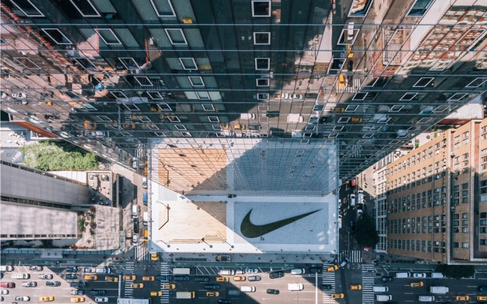The Swoosh garden atop the Nike headquarters in NYC.