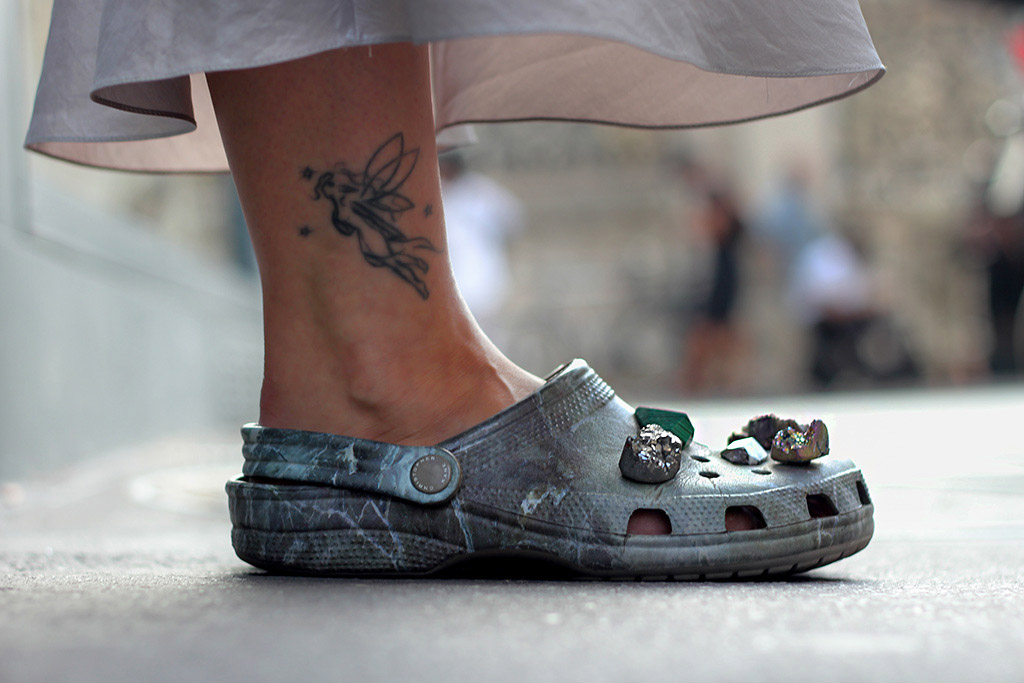 A pair of Crocs x Christopher Kane shoes spotted on the streets of Paris Men's Fashion Week.