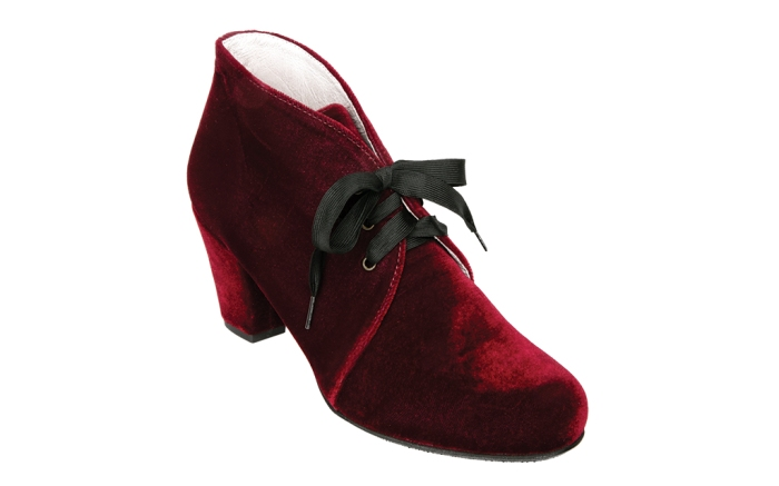 Burgundy velvet Claire bootie from Patricia Green