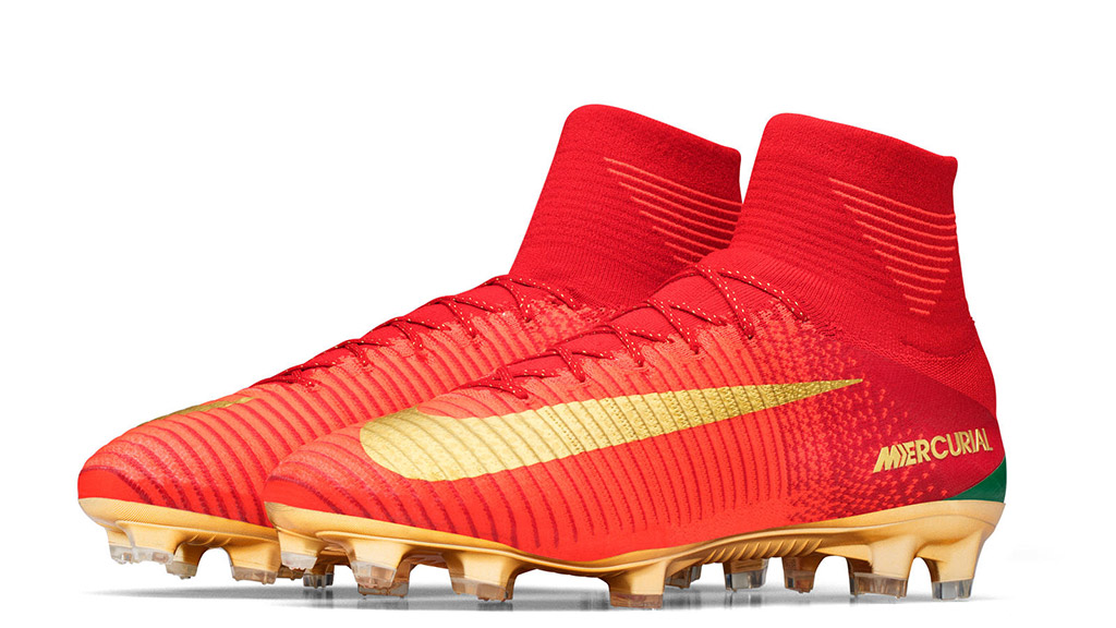 The CR7 Mercurial Campeões Nike boots for cristiano ronaldo inspired by portugal in red, green and gold for his fifa soccer football tournament to represent portugal