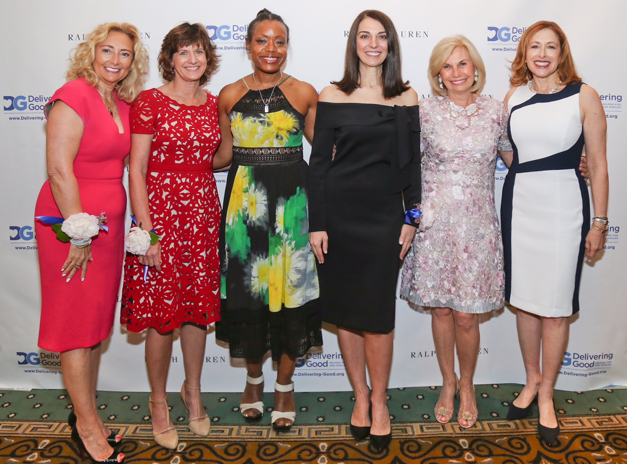 Left to Right: Luncheon Co-Chair Carole Postal, Honoree Gaye Dean, Honoree Tracy Reese, Honoree Lana Todorovich, Luncheon Co-Chair Karen Bromley, and Delivering Good President & CEO Lisa Gurwitch