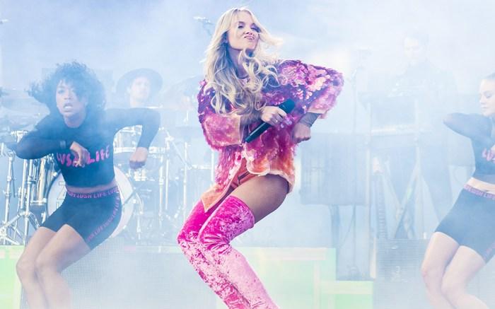 Zara Larsson in concert in Sweden rocking pink thigh-highs