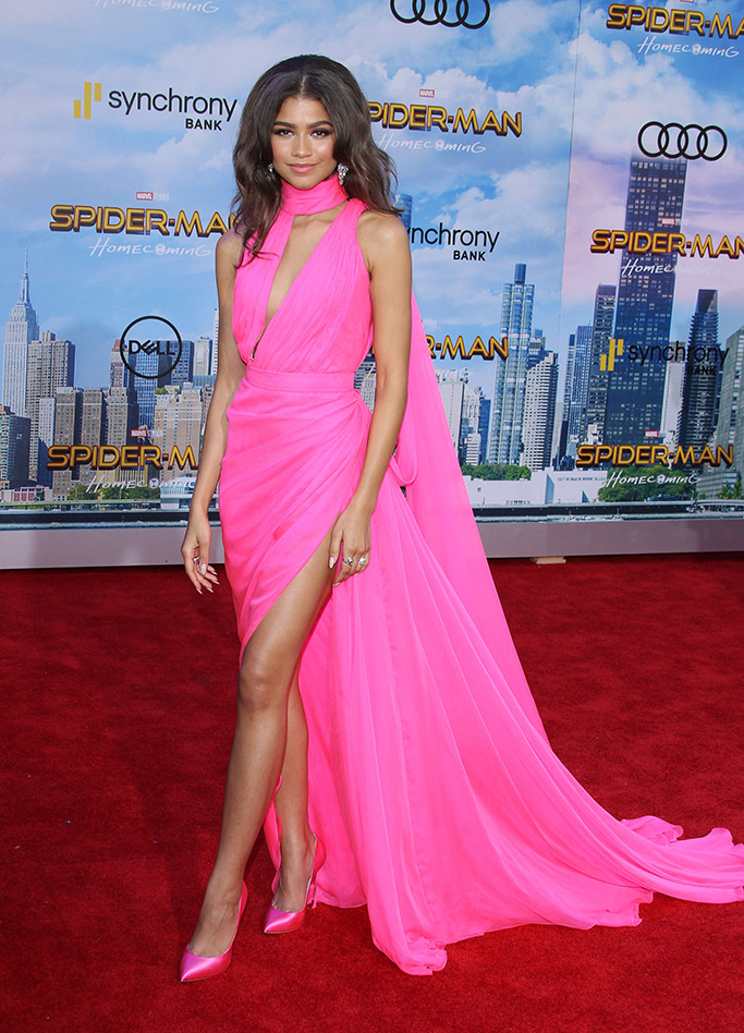 """Zendaya at the """"Spider-Man: Homecoming"""" film premiere in LA wearing barbie pink ralph and russo gown, casadei shoes and bulgari jewelry"""
