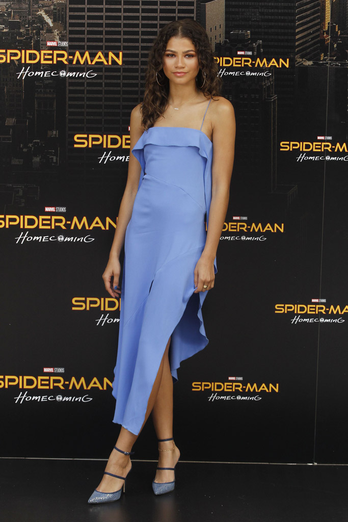 Zendaya in a blue midi dress and a pair of Rihanna x Manolo heels at spiderman: homecoming photocall in Madrid