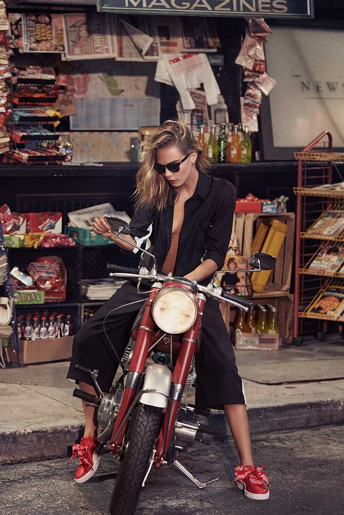 An image from Puma's Basket Heart campaign with Cara Delevingne.