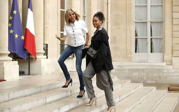 Brigitte Macron and Rihanna.
