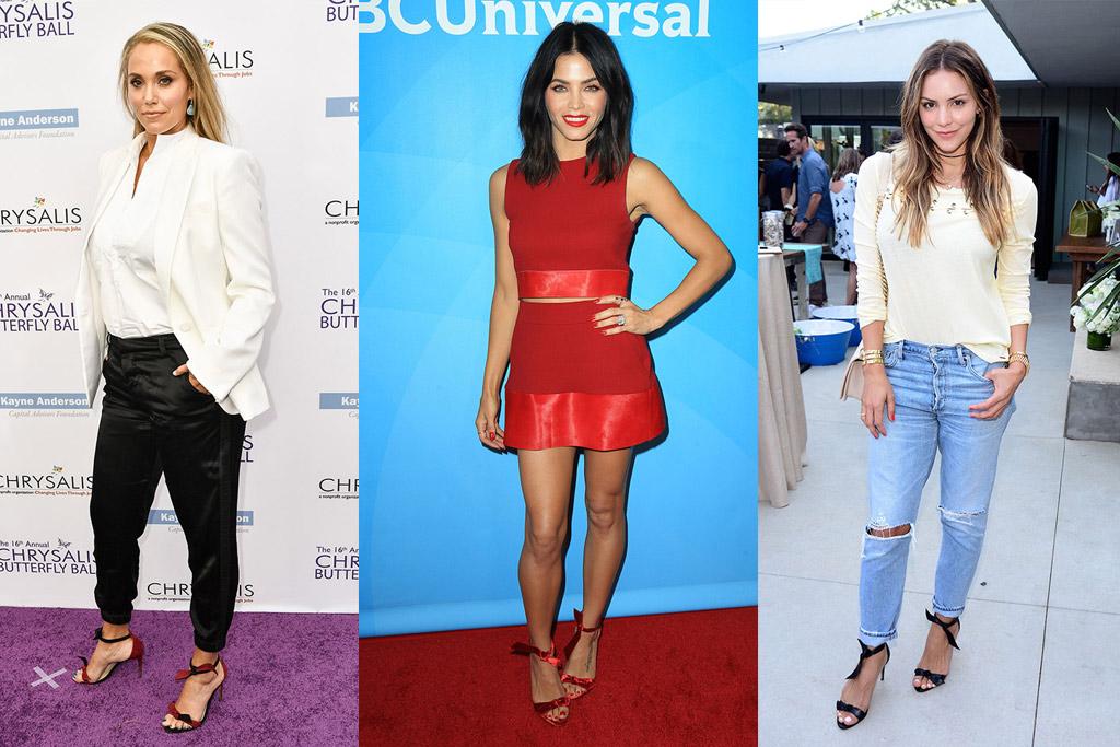 Elizabeth Berkley, Jenna Dewan, Katharine McPhee in alexandre birman clarita sandal shoes