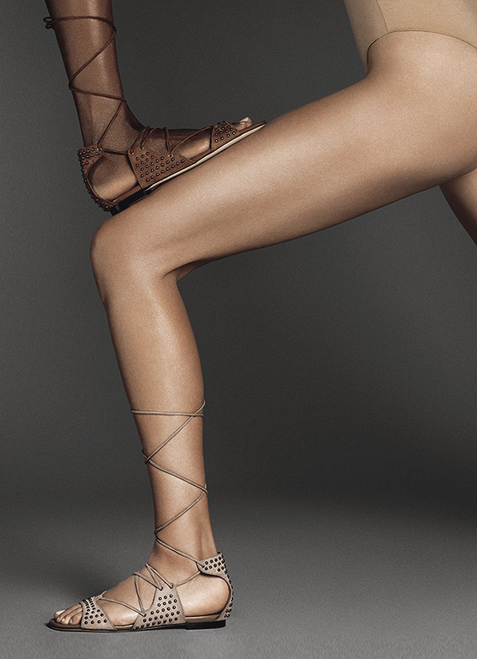 Imagery from Tamara Mellon's Warrior Collection features women in empowering poses.