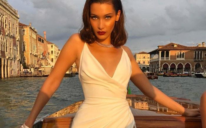 bella hadid, venice, white dress, instagram