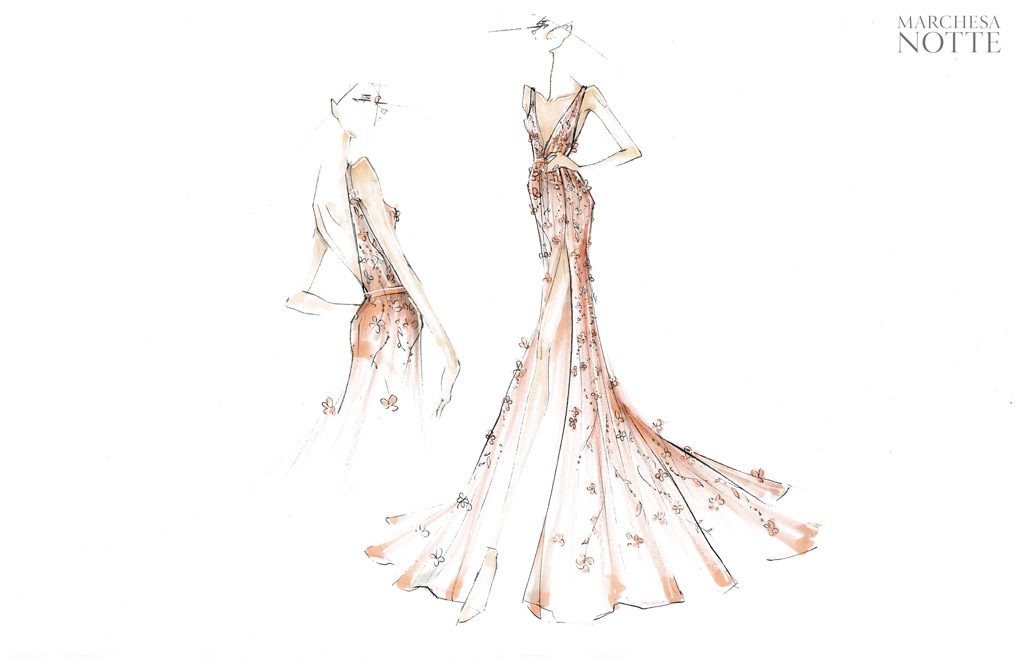marchesa, wedding gown, bridal, julianne hough, bridesmaids