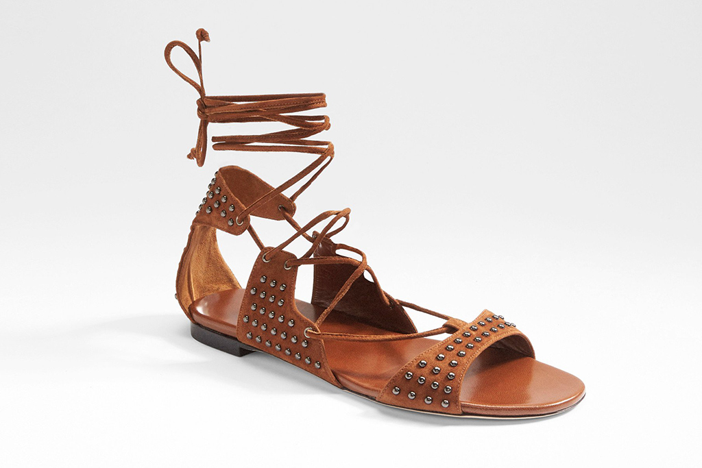 Tamara Mellon Amazon flat in brown suede.