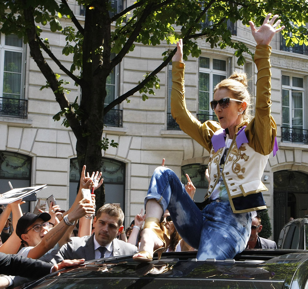celine dion, fashion, style, dsquared2, gianvito rossi, shoes, heels, feet, sandals, jacket