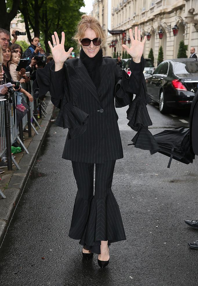 celine dion, fashion, style, suit, pinstripes, shoes, heels, paris