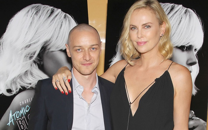 James McAvoy and Charlize Theron at Atomic Blonde film screening.