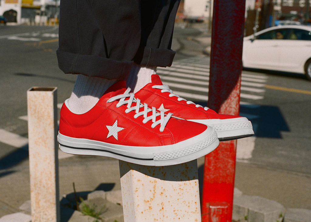 The Converse One Star Perforated Leather in Casino Red.