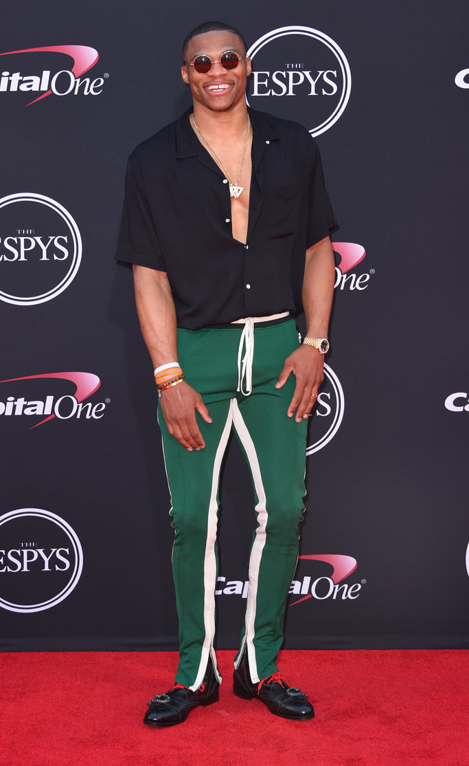 2017, espy awards, espys, celebrities, red carpet, fashion, shoes, style, Russell Westbrook