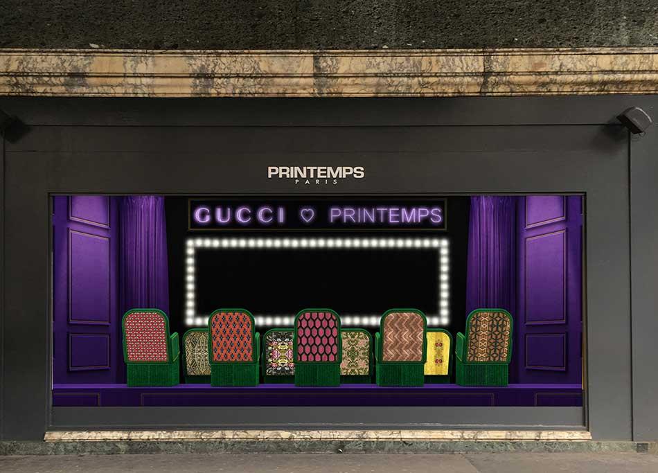A Gucci window display at Printemps.