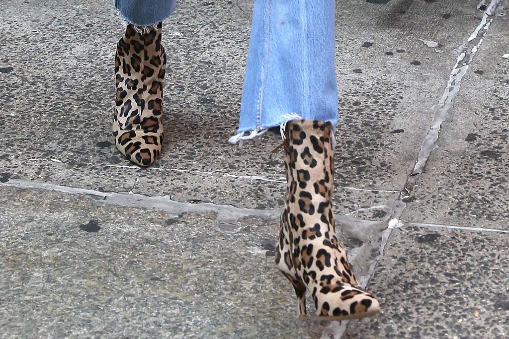 gigi hadid style leopard boots