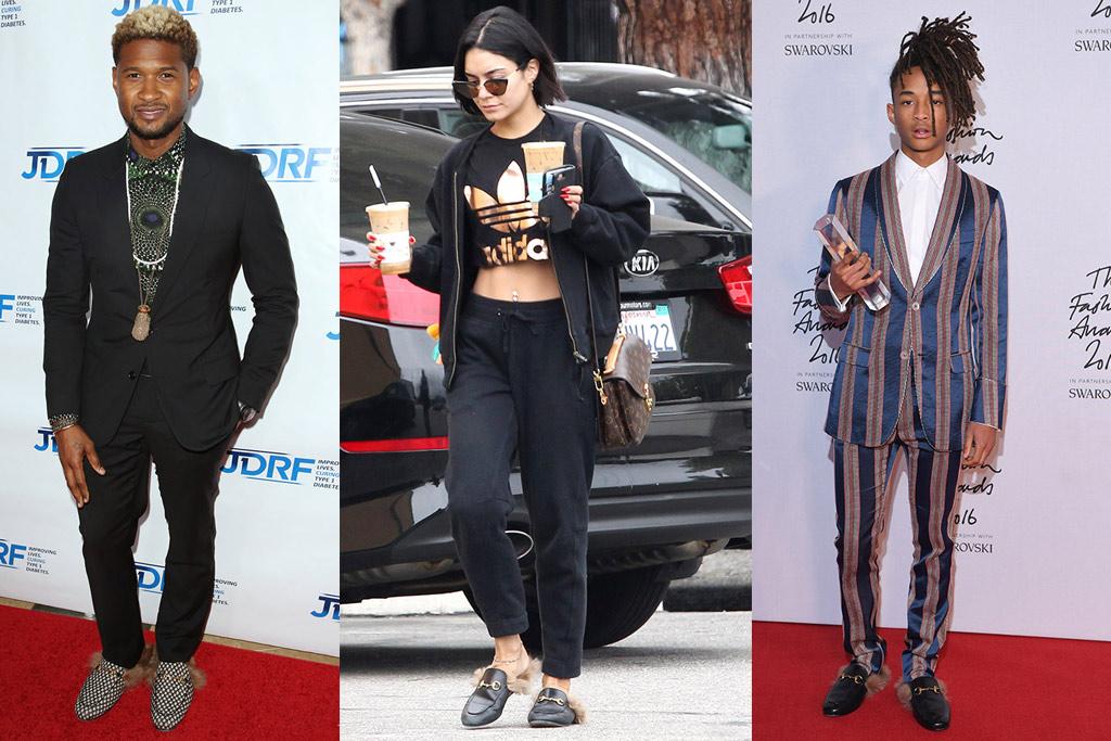 Usher, Vanessa Hudgens, Jaden Smith in gucci slides