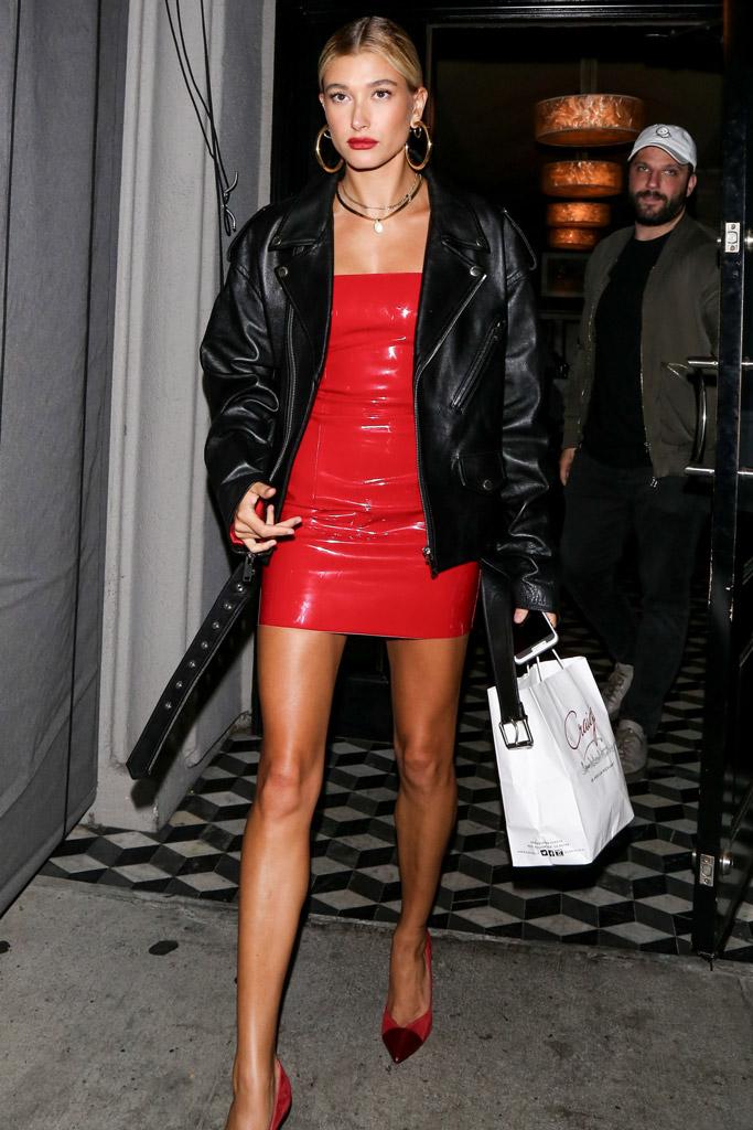 Hailey Baldwin, leather jacket, red dress