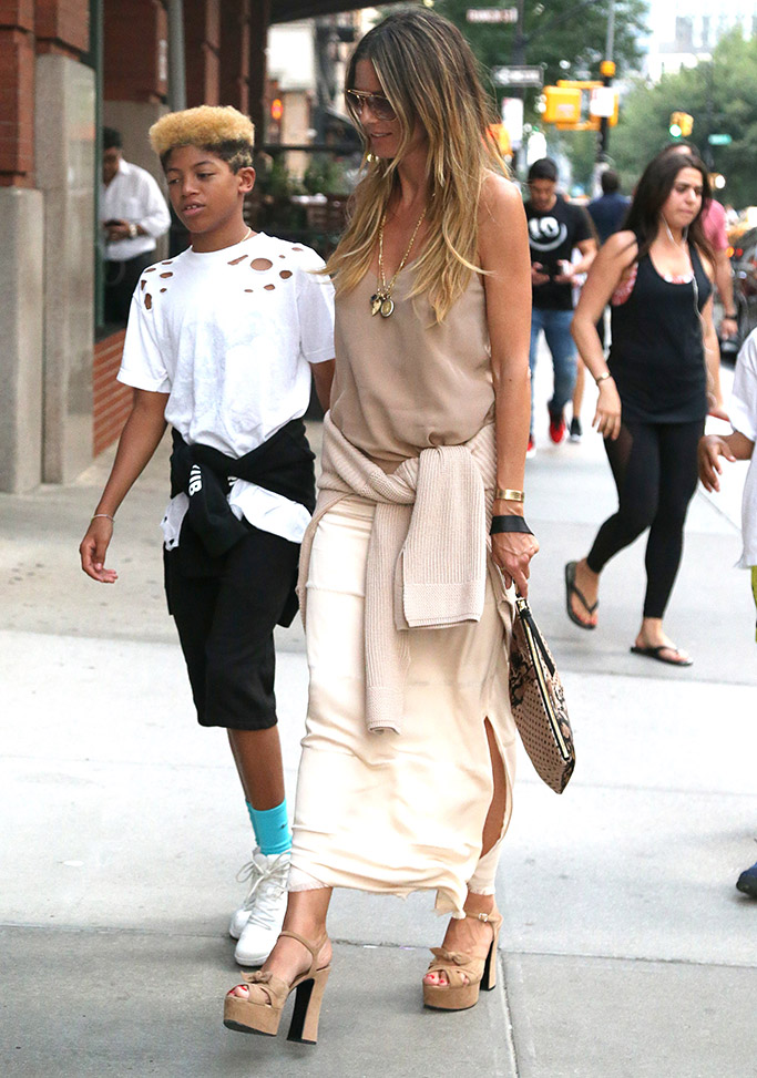 Heidi Klum wears a nude colored monochromatic look in New York City alongside her and Seal's son
