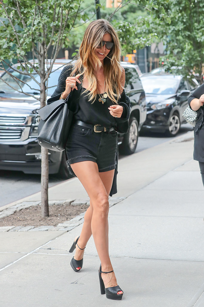 Heidi Klum wears an all-black monochromatic look in New York city