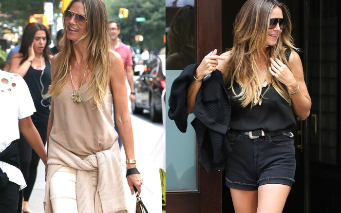 Heidi Klum wears two monochromatic looks on the same day in new york city