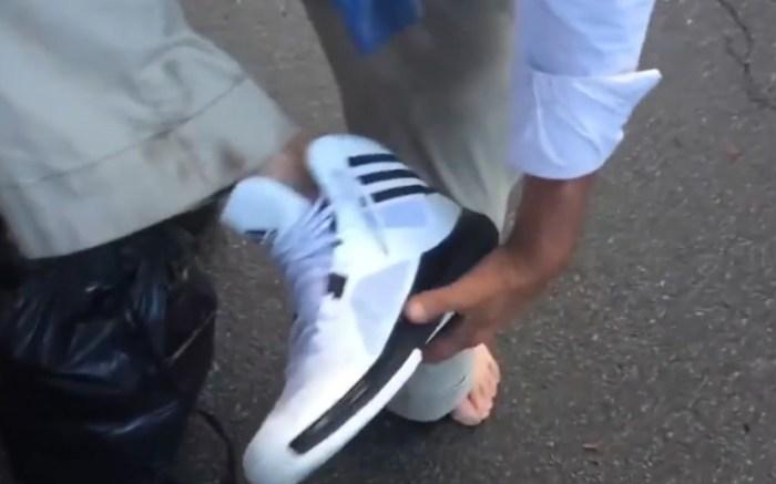 Homeless Veteran Receives New Sneakers