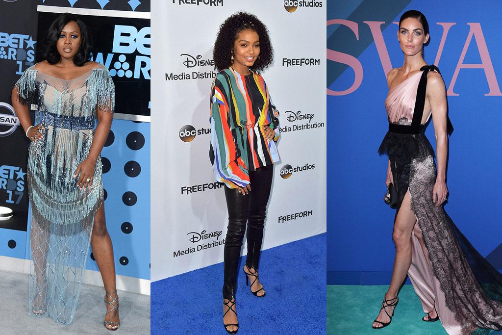 Remy Ma, Yara Shahidi, Hilary Rhoda in jimmy choo lance sandals