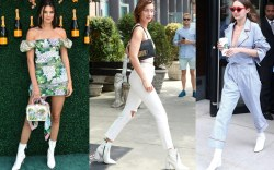 celebrities white boots booties trend