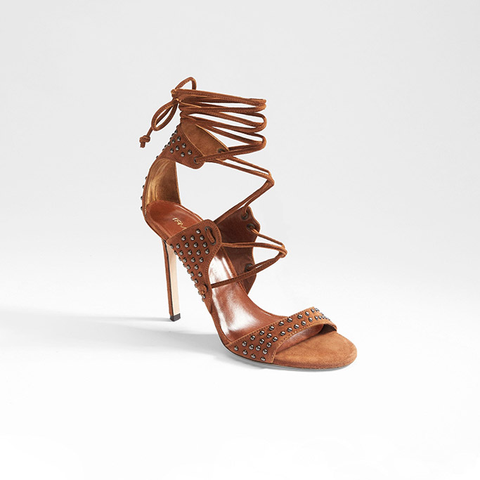 Tamara Mellon Matrix 105 sandal in brown suede.