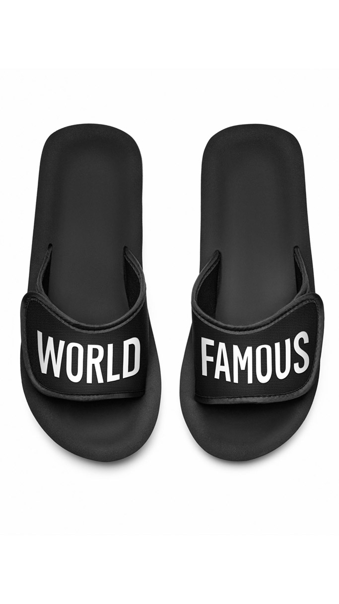 mcdelivery, mcdonalds clothing line, sandals, slides, world famous