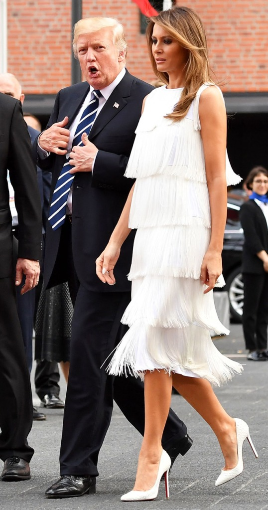 melania trump, donald trump, fringe, white dress, michael kors, christian louboutin, g20 summit, Vladimir Putin