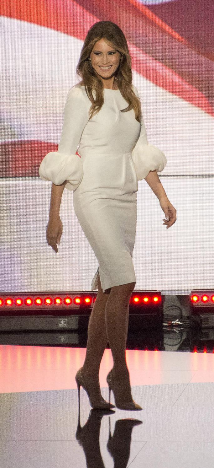 Melania Trump, wax figure, waxwork, donald trump, madrid, spain, madrid wax museum, nude shoes, white dress, roksanda, nude, christian louboutin