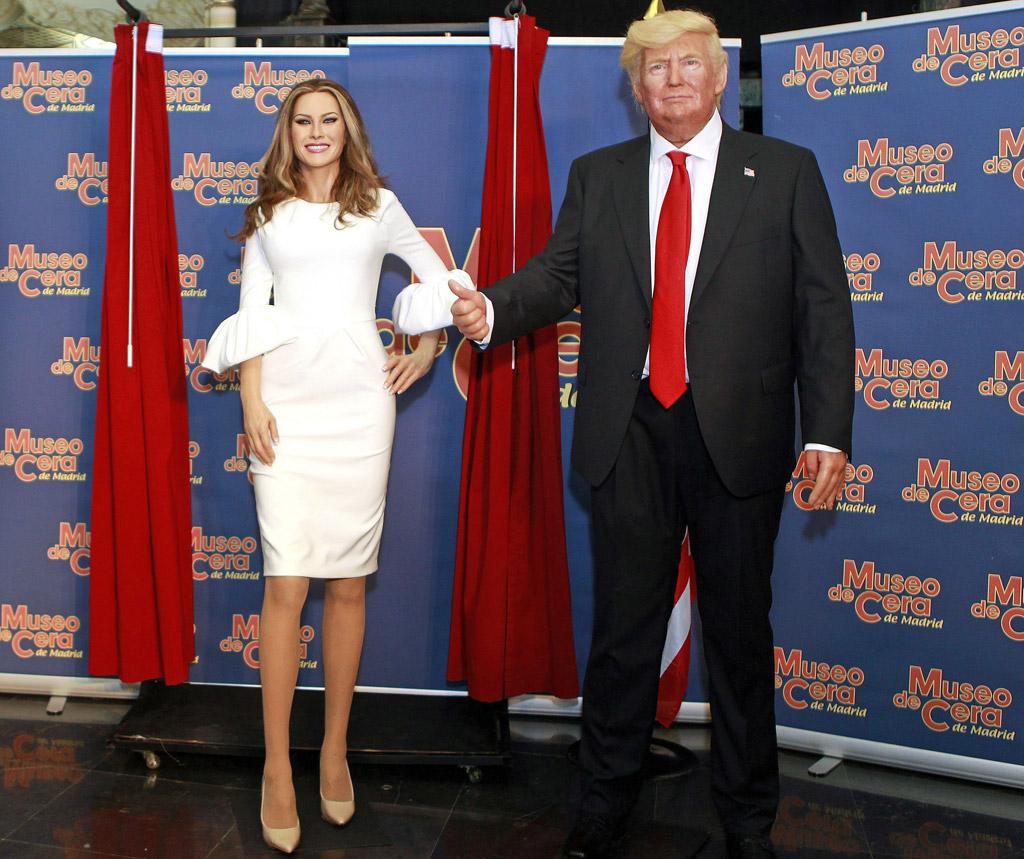 Melania Trump, wax figure, waxwork, donald trump, madrid, spain, madrid wax museum, nude shoes, white dress,