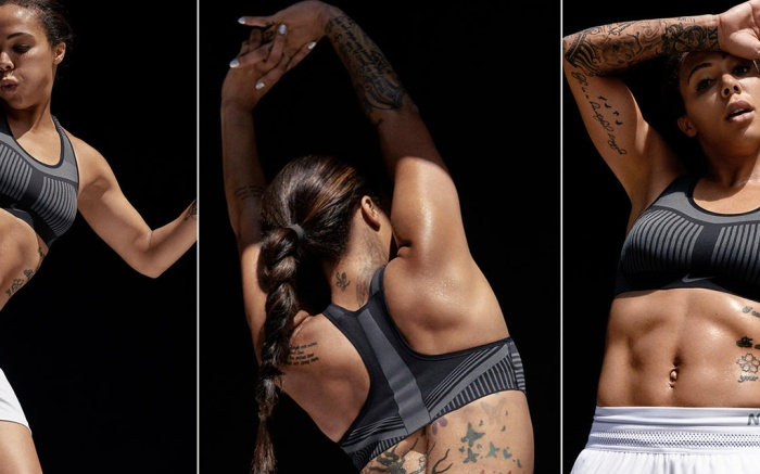 Soccer player and Olympic gold medalist Sydney Leroux works out in the Nike FE/NOM Flyknit Bra.