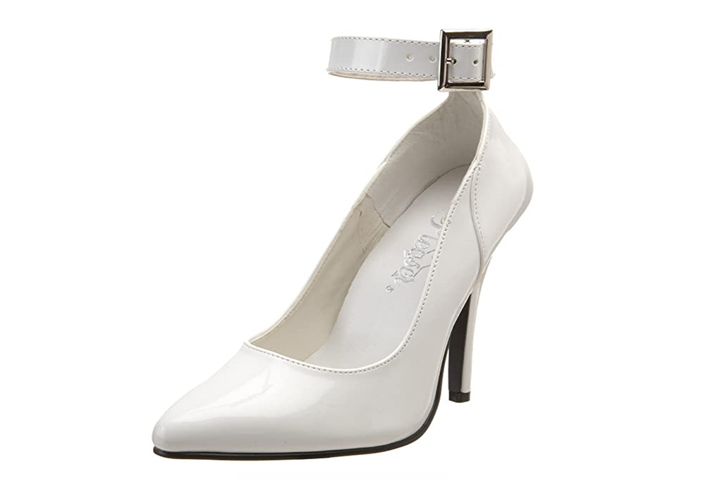 pleaser footwear, white heels, womens shoes for mens sizes