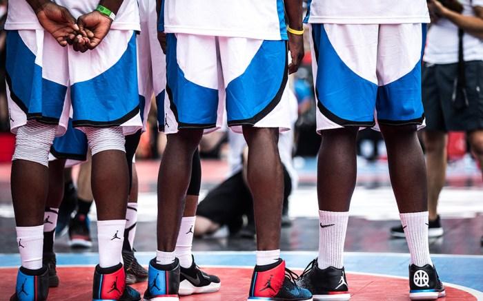 basketball Players wear special edition Quai 54 Jordan sneakers in Paris.