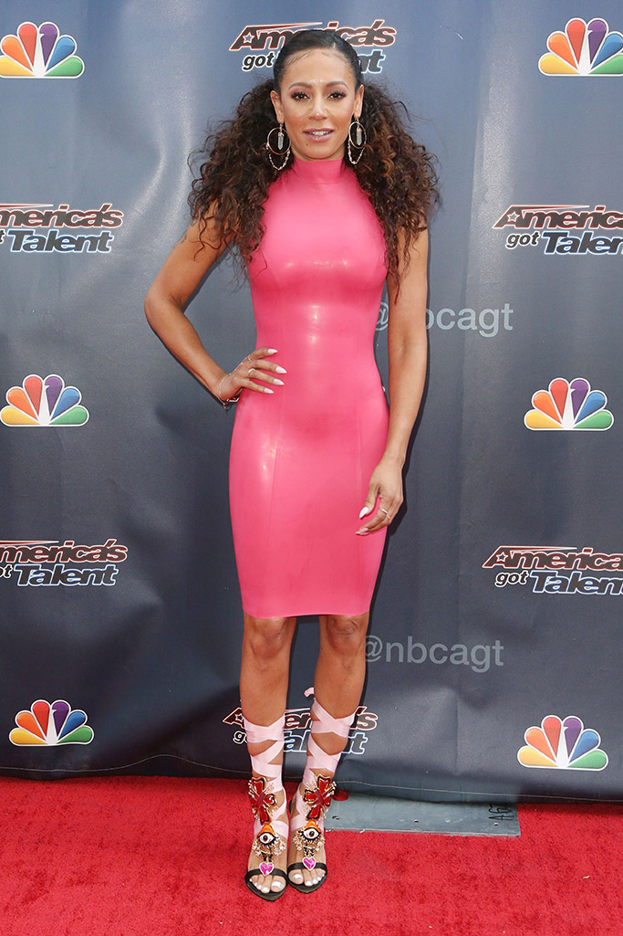 Melanie Brown, Mel B also known as scary spice at americas got talent photocall in los angeles wearing dsquared2 shoes