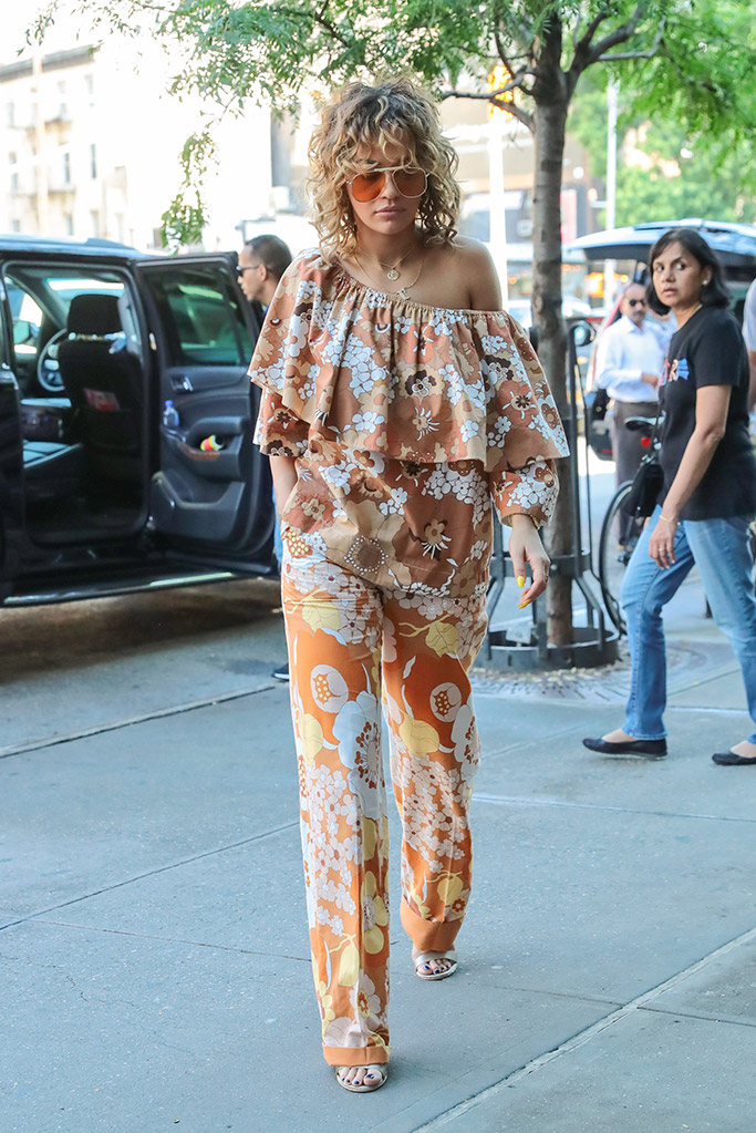 Rita Ora wears a chloe top and bottoms in nYC.