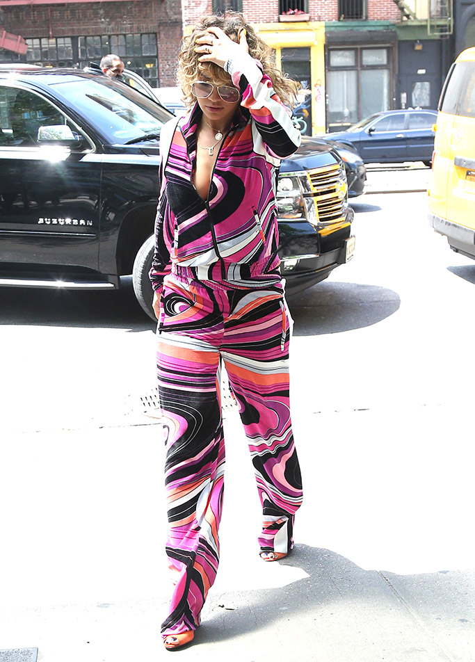 Rita Ora wears a psychedelic Etro outfit in NYC