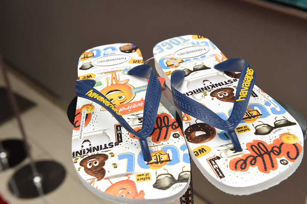 Havaianas designed flip-flops for the exclusive Saks x The Emoji Movie collection.