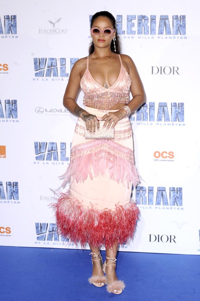 rihanna valerian paris pink prada outfit pink sandals