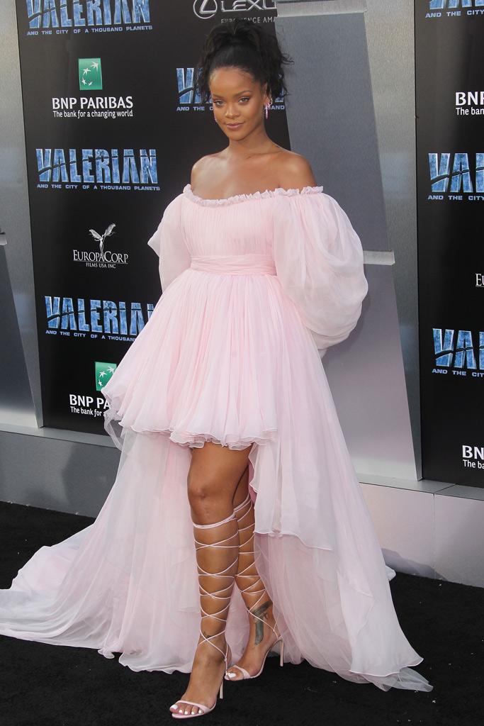 rihanna valerian movie premiere dress laceup sandals