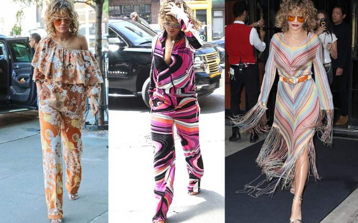 Rita Ora wears the '70s trend three times in one day in NYC.